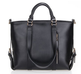 Black Leather Travel Tote Bag