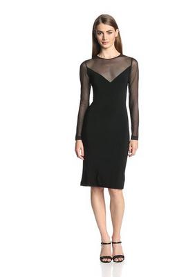 KAMALIKULTURE Women's V-Insert Illusion Combo Dress